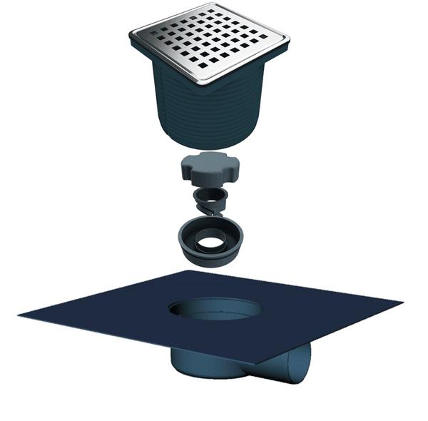 Регулируем сифон с текстилна мембрана със страничен изход Ф50